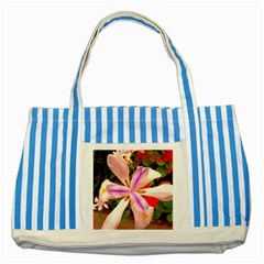 African Iris Blue Striped Tote Bag