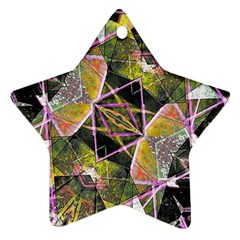 Geometric Grunge Pattern Print Star Ornament (Two Sides)