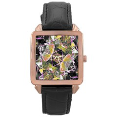 Geometric Grunge Pattern Print Rose Gold Leather Watch