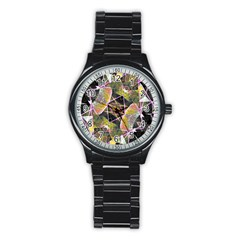 Geometric Grunge Pattern Print Sport Metal Watch (black)