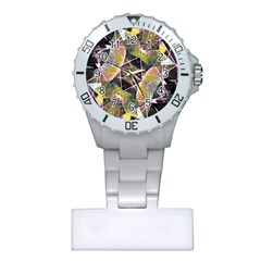Geometric Grunge Pattern Print Nurses Watch