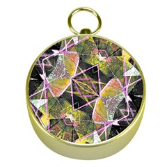 Geometric Grunge Pattern Print Gold Compass