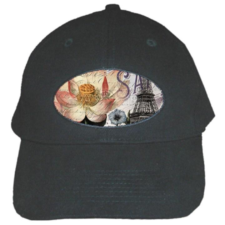 Vintage Paris Eiffel Tower Floral Black Baseball Cap