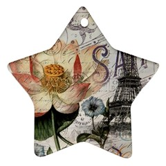 Vintage Paris Eiffel Tower Floral Star Ornament