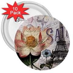 Vintage Paris Eiffel Tower Floral 3  Button (10 pack)