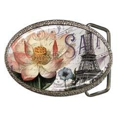 Vintage Paris Eiffel Tower Floral Belt Buckle (Oval)
