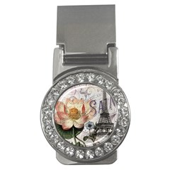 Vintage Paris Eiffel Tower Floral Money Clip (cz)