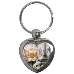 Vintage Paris Eiffel Tower Floral Key Chain (heart)