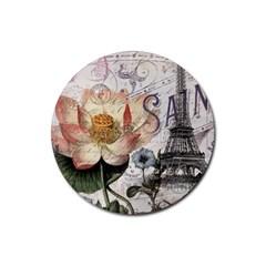 Vintage Paris Eiffel Tower Floral Drink Coaster (round)