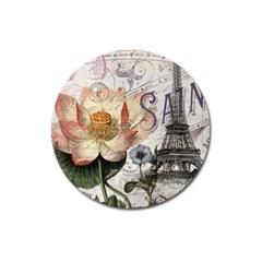 Vintage Paris Eiffel Tower Floral Magnet 3  (round)