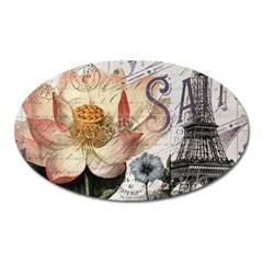 Vintage Paris Eiffel Tower Floral Magnet (Oval)