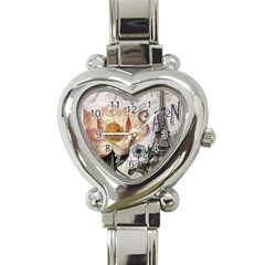 Vintage Paris Eiffel Tower Floral Heart Italian Charm Watch