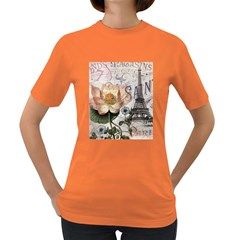 Vintage Paris Eiffel Tower Floral Women s T Shirt (colored)