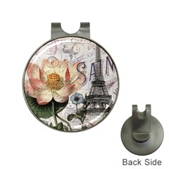 Vintage Paris Eiffel Tower Floral Hat Clip with Golf Ball Marker