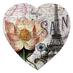 Vintage Paris Eiffel Tower Floral Jigsaw Puzzle (heart)