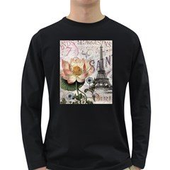 Vintage Paris Eiffel Tower Floral Men s Long Sleeve T-shirt (Dark Colored)
