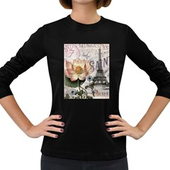 Vintage Paris Eiffel Tower Floral Women s Long Sleeve T Shirt (dark Colored)