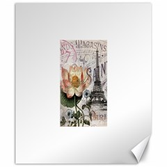 Vintage Paris Eiffel Tower Floral Canvas 20  X 24  (unframed)
