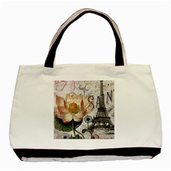 Vintage Paris Eiffel Tower Floral Twin-sided Black Tote Bag