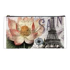 Vintage Paris Eiffel Tower Floral Pencil Case