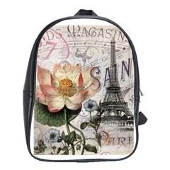 Vintage Paris Eiffel Tower Floral School Bag (large)