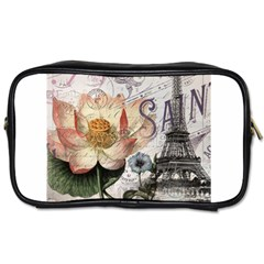 Vintage Paris Eiffel Tower Floral Travel Toiletry Bag (two Sides)