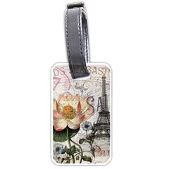 Vintage Paris Eiffel Tower Floral Luggage Tag (two Sides)