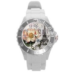 Vintage Paris Eiffel Tower Floral Plastic Sport Watch (large)