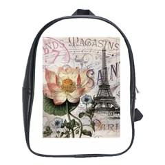 Vintage Paris Eiffel Tower Floral School Bag (xl)