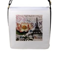 Vintage Paris Eiffel Tower Floral Flap Closure Messenger Bag (large)
