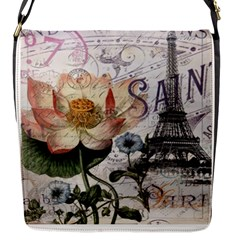 Vintage Paris Eiffel Tower Floral Flap Closure Messenger Bag (small)
