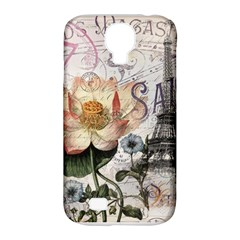Vintage Paris Eiffel Tower Floral Samsung Galaxy S4 Classic Hardshell Case (pc+silicone)