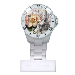 Vintage Paris Eiffel Tower Floral Nurses Watch