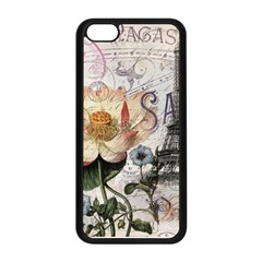 Vintage Paris Eiffel Tower Floral Apple iPhone 5C Seamless Case (Black)