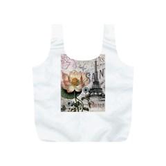 Vintage Paris Eiffel Tower Floral Reusable Bag (S)