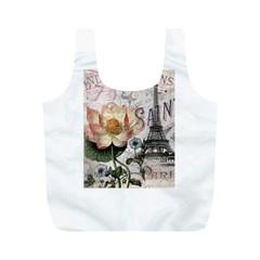 Vintage Paris Eiffel Tower Floral Reusable Bag (M)