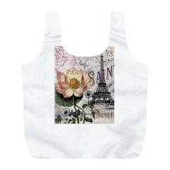 Vintage Paris Eiffel Tower Floral Reusable Bag (L)