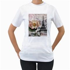 Vintage Paris Eiffel Tower Floral Women s T Shirt (white)