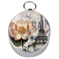 Vintage Paris Eiffel Tower Floral Silver Compass