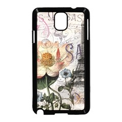 Vintage Paris Eiffel Tower Floral Samsung Galaxy Note 3 Neo Hardshell Case (Black)