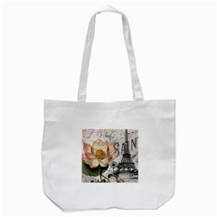 Vintage Paris Eiffel Tower Floral Tote Bag (White)