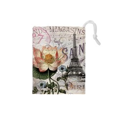 Vintage Paris Eiffel Tower Floral Drawstring Pouch (small)