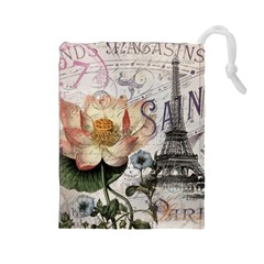 Vintage Paris Eiffel Tower Floral Drawstring Pouch (Large)
