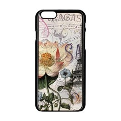 Vintage Paris Eiffel Tower Floral Apple iPhone 6 Black Enamel Case