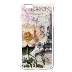 Vintage Paris Eiffel Tower Floral Apple iPhone 6 Plus Enamel White Case