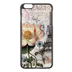 Vintage Paris Eiffel Tower Floral Apple Iphone 6 Plus Black Enamel Case