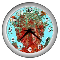 Flower Horizon Wall Clock (silver)