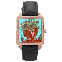 Flower Horizon Rose Gold Leather Watch