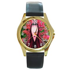 Tree Spirit Round Leather Watch (gold Rim)