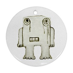 Sad Monster Baby Round Ornament (two Sides)